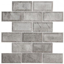 Jeffrey Court Tundra Grey 2 x 4 Beveled 12 in. x 12 in. x 10 mm Marble Mosaic Wall Tile