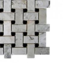 Splashback Tile Magnolia Weave White Carrera With Black Dot Marble Tile Sample