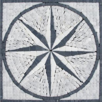 MS International Black & White Star Medallion 12 in. x 12 in. Tumbled Marble Mesh Mounted Mosaic Tile