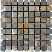 MS International Peacock 12 in. x 12 in. x 10 mm Tumbled Slate Mesh-Mounted Mosaic Tile (10 sq. ft. / case)