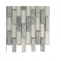 Splashback Tile Tectonic Brick Green Quartz Slate and White Gold Glass Floor and Wall Tile - 6 in. x 6 in.Tile Sample