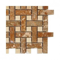 Splashback Tile Basket Braid Noche Travertine Stone Mosaic Floor and Wall Tile - 6 in. x 6 in. Tile Sample-DISCONTINUED
