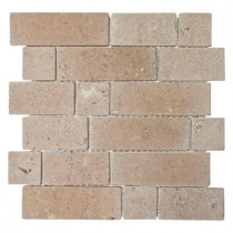 Jeffrey Court Noce Block Stone Mosaic Sheet 12 in. x 12 in. Travertine Wall and Floor Tile