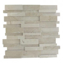 Splashback Tile Dimension 3D Brick Crema Marfil Pattern 12 in. x 12 in.x 8 mm Mosaic Floor and Wall Tile