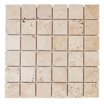 Jeffrey Court Light Travertine 12 in. x 12 in. x 8 mm Mosaic Floor/Wall Tile