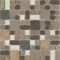 Epoch Architectural Surfaces No Ka 'Oi Wailea-Wa420 Stone And Glass Blend Mesh Mounted Floor and Wall Tile - 3 in. x 3 in. Tile Sample