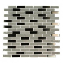 Splashback Tile Contempo Ice Cave 1/2 in. x 2 in. Brick Pattern 12 in. x 12 in. x 8 mm Glass and Metal Tile