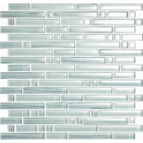 EPOCH Brushstrokes Bianco-1506 S Strips Mosaic Glass Mesh Mounted - 4 in. x 4 in. Tile Sample