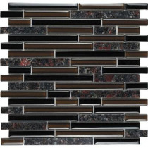 Epoch Architectural Surfaces Spectrum English Brown-1664 Granite And Glass Blend Mesh Mounted Tile - 2 in. x 12 in. Tile Sample