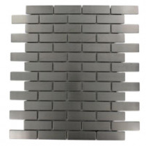 Splashback Tile Stainless Steel Brick Pattern 12 in. x 12 in. x 8 mm Metal Mosaic Floor and Wall Tile
