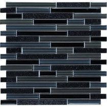 Epoch Architectural Surfaces Spectrum Black Galaxy-1661 Granite And Glass Blend Mesh Mounted Floor and Wall Tile - 2 in. x 12 in. Tile Sample