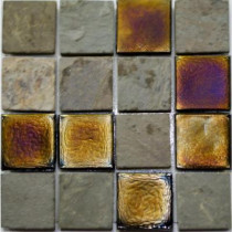 Studio E Edgewater Sunset Cliffs Glass and Slate Mosaic & Wall Tile - 5 in. x 5 in. Tile Sample-DISCONTINUED