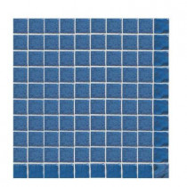 Daltile Sonterra Glass Navy Blue Opalized 12  x 12 x 6mm Glass Sheet Mounted Mosaic Wall Tile (10 sq. ft. / case)-DISCONTINUED