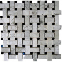 Splashback Tile Magnolia Weave White Carrera 3/4 in. x 2 in. With Black Dot 1/2 in. x 1/2 in. Marble Floor and Wall Tile