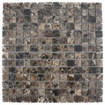 Splashback Tile Dark Emperidor Squares 12 in. x 12 in.x 8 mm Marble Floor and Wall Tile