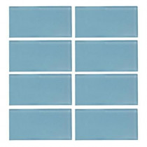 Jeffrey Court Caribbean Water Gloss 3 in. x 6 in. Glass Wall Tile (1pk / 8 pcs / 4 lb./ Each)