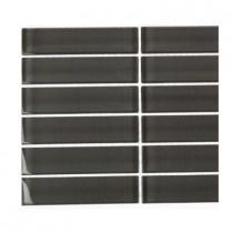 Splashback Tile Contempo Smoke Gray Polished 1 in. x 4 in. Glass Tiles Tile Sample