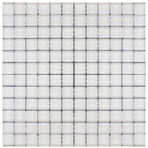 Splashback Tile Contempo Bright White Polished 12 in. x 12 in. x 8 mm Glass Mosaic Floor and Wall Tile