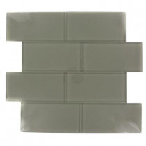 Splashback Tile Contempo Cream Polished 3 in. x 6 in. Glass Subway Floor and Wall Tile-DISCONTINUED