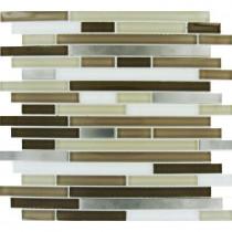 MS International Escorial Blend Interlocking 12 in. x 12 in. x 8 mm Glass Metal Mesh-Mounted Mosaic Tile