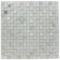 Splashback Tile Emerald Bay Blend Squares 12 in. x 12 in. x 8 mm Marble And Glass Mosaic Floor and Wall Tile