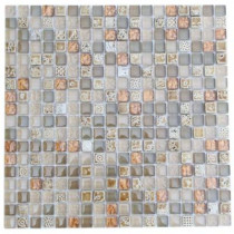 Splashback Tile Aztec Art Flaxseed 12 in. x 12 in. x 8 mm Glass Mosaic Floor and Wall Tile