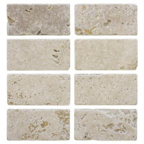 Jeffrey Court Light Travertine 3 in. x 6 in. Travertine Floor/Wall Tile (1pk / 8- pcs-1 sq. ft.)
