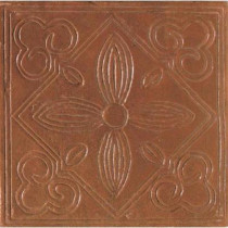 Daltile Saltillo Sealed Antique Red 6 in. x 6 in. Ceramic Floral Decorative Floor and Wall Tile-DISCONTINUED