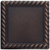Weybridge 2 in. x 2 in. Cast Metal Rope Dot Dark Oil Rubbed Bronze Tile (10 pieces / case) - Discontinued