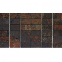 U.S. Ceramic Tile Argos 13 in. x 24 in. Antracita Porcelain Mesh-Mounted Mosaic Tile-DISCONTINUED