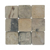 Daltile Travertine Copper 4 in. x 4 in. Slate Floor and Wall Tile (6 sq. ft. / case)