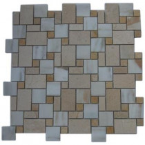 Splashback Tile Parisian Pattern Calcutta Blend 12 in. x 12 in. x 8 mm Marble Floor and Wall Tile