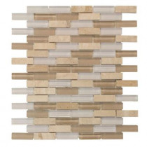 Jeffrey Court Cottage Ridge Mini Brick 11.75 in. x 12 in. x 8 mm Glass / Stone Mosaic Wall Tile