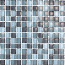EPOCH Color Blends Gris-1600 Gloss Mosaic Glass Mesh Mounted Tile - 4 in. x 4 in. Tile Sample-DISCONTINUED