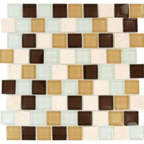 MS International Desert Mirage 1.25 in. x 1.25 in. x 8 mm Glass Stone Mesh-Mounted Mosaic Tile