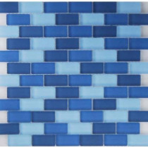 EPOCH Oceanz Indian Mosaic Glass Mesh Mounted Tile - 3 in. x 3 in. Tile Sample