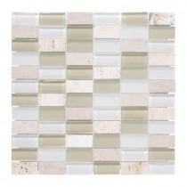 Jeffrey Court Cottage Ridge 12 in. x 12 in. Glass Travertine Mosaic Wall Tile