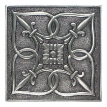 Daltile Massalia Pewter 4 in. x 4 in. Metal Fleur de Lis Wall Tile-DISCONTINUED