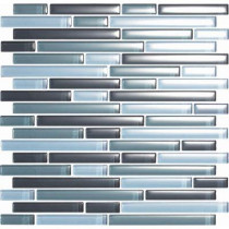 EPOCH Color Blends Gris-1600-S Gloss Strips Mosaic Glass Mesh Mounted Tile - 4 in. x 4 in. Tile Sample-DISCONTINUED