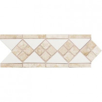Daltile Fashion Accents White/Travertine 4 in. x 12 in. Ceramic Listello Wall Tile