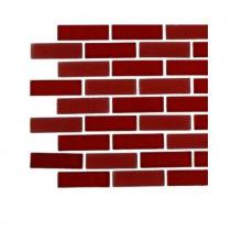 Splashback Tile Contempo Lipstick Red Brick Glass Tile Sample
