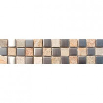 MS International Golden White/Metal Border 3 in. x 12 in. Floor and Wall Tile