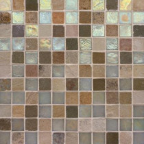 Studio E Edgewater Stone Steps 1 in. x 1 in. 11 3/4 in. x 11 3/4 in. Glass and Slate Floor & Wall Mosaic Tile-DISCONTINUED