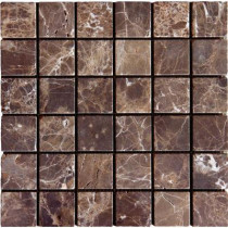 MS International Emperador Dark 12 in. x 12 in. x 10 mm Tumbled Marble Mesh-Mounted Mosaic Tile (10 sq. ft. / case)