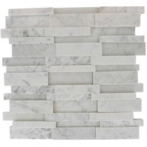 Splashback Tile Dimension 3D Brick White Carrera Stone 12 in. x 12 in. x 8 mm Wall and Floor Tiles