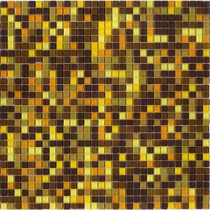Elementz 12.8 in. x 12.8 in. Venice Amber Mix Glossy Glass Tile-DISCONTINUED