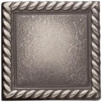 Weybridge 2in. x 2 in. Cast Metal Rope Dot Brushed Nickel Tile (10 pieces / case) - Discontinued