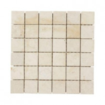 Jeffrey Court Giallo Sienna 12 in. x 12 in. x 8 mm Travertine Mosaic Floor/Wall Tile