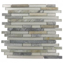 Splashback Tile Tectonic Harmony Green Quartz Slate And White 12 in. x 12 in. x 8 mm Glass Mosaic Floor and Wall Tile