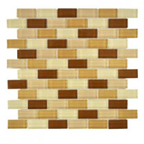 Jeffrey Court 12 in. x 12 in. Auburn Spice Brick Glass Mosaic Tile-DISCONTINUED